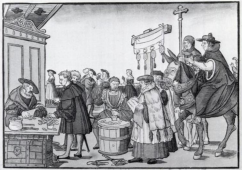 The sale of indulgences, engraving by Jörg Breu the Elder of Augsburg, circa 1530